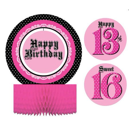 Pink Zebra Party Centerpiece with Stickers (Zebra Centerpiece Ideas)