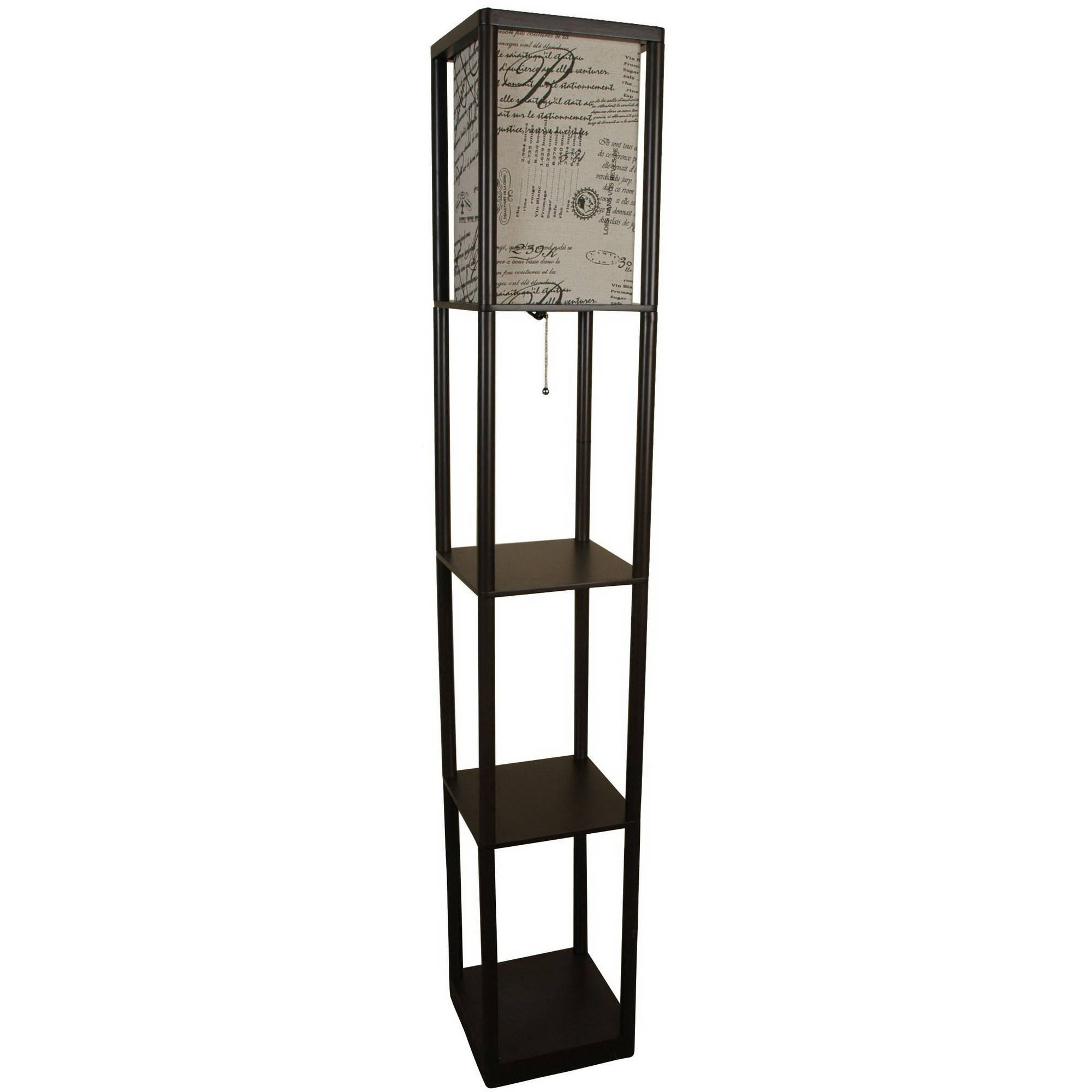 Mainstays Script Shade Brown Shelf Floor Lamp by Mastercraft Distribution USA, Inc.