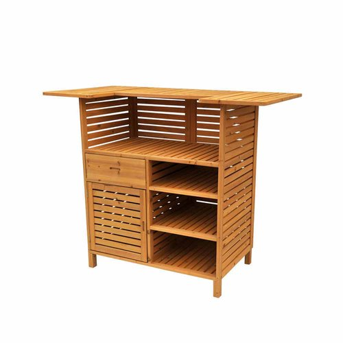 Leisure Season Outdoor Bar with Storage, Medium Brown