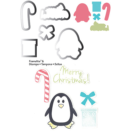 Sizzix Framelits Stamp and Die-Cut Set, Penguin & Candy Canes