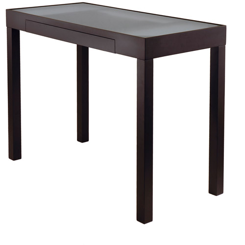 Winsome Wood Darrel Computer Desk with Frosted Glass Top, Black