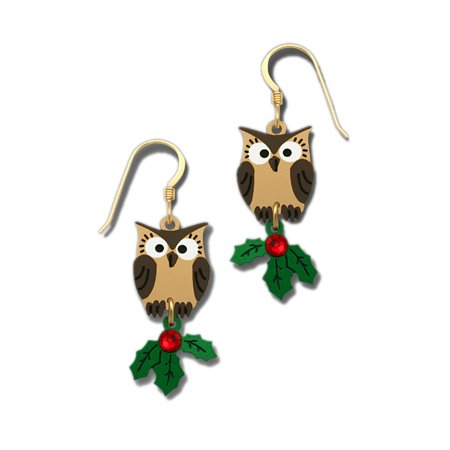 Doe Eyed Brown Owl with Green & Red Christmas Holly Earrings 1788