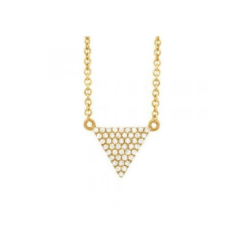 Allurez 0.13ct 14k Yellow Gold Diamond Pave Triangle Necklace by Generic