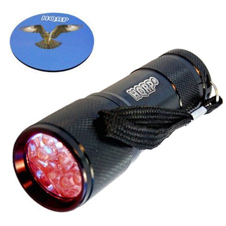HQRP Portable Pocket Red Light Flashlight with 9 LEDs for Watching Iguanas and Snakes, Hamsters and Hedgehogs, Turtles and Reptiles at Night + HQRP Coaster (Night Ops Flashlight)