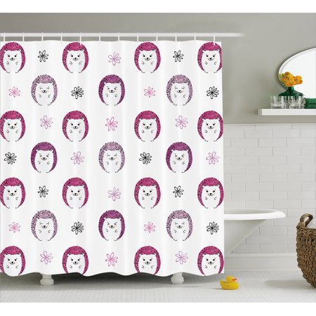 Hedgehog Shower Curtain Colorful Spiky Animals With Cute Faces Doodle Flowers Cartoon Style Image
