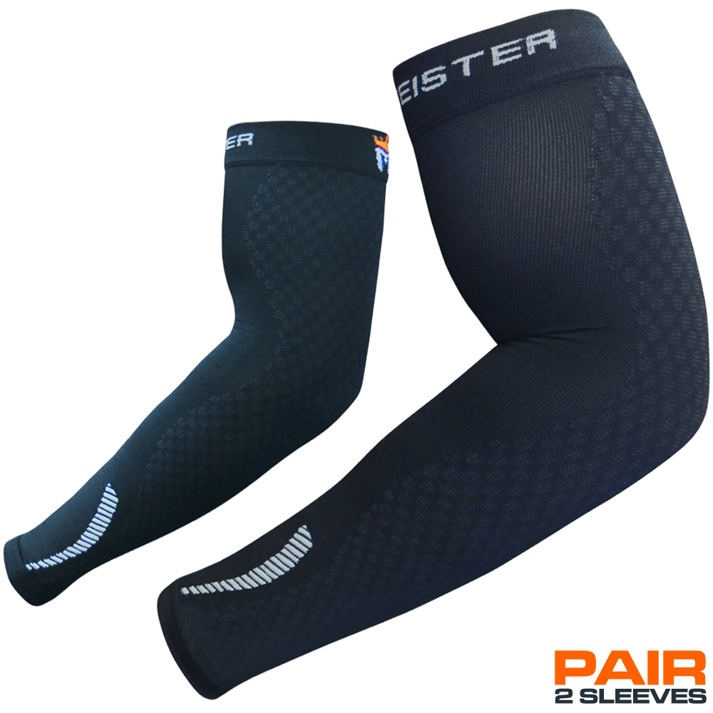 Meister HEX Compression Arm Sleeves - Black - (Pair) - Large