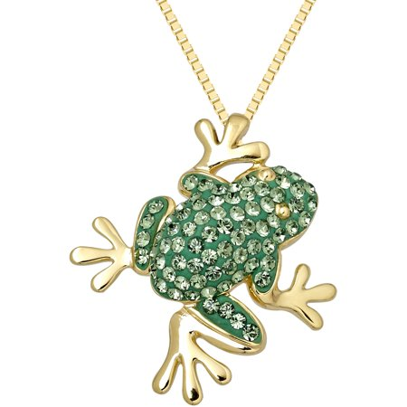 18kt Gold over Sterling Silver Frog Pendant made with Swarovski Elements, 18
