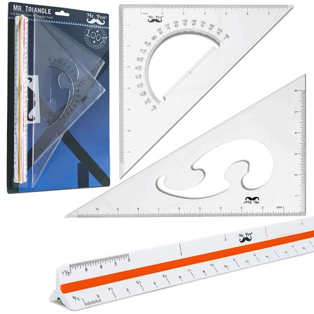 "Mr. Pen- 3 Pc Large Triangular Ruler Set, Triangular Scale, 11"" 30/60 and 8"" 45/90 Triangles, Architectural Scale Ruler, Architect Triangular Scale, Set Squares, Geometry Ruler, BluePrint Scale Rulers"