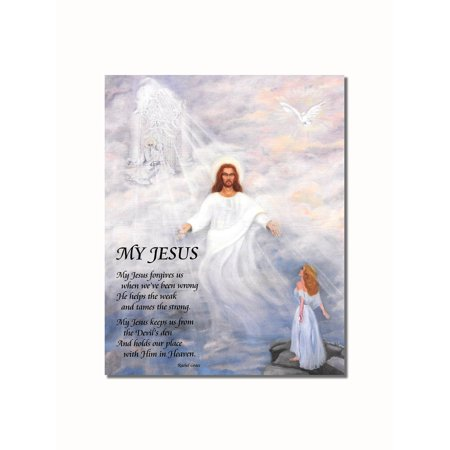- My Jesus Poem Woman Looking to Christ in Heaven Wall Picture 8x10 Art Print