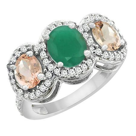 10K White Gold Natural Cabochon Emerald & Morganite 3-Stone Ring Oval Diamond Accent, size 5