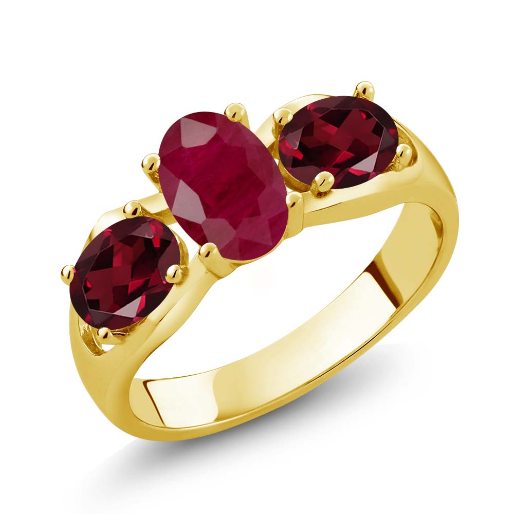 2.02 Ct Oval Red Ruby Red Rhodolite Garnet 18K Yellow Gold Ring