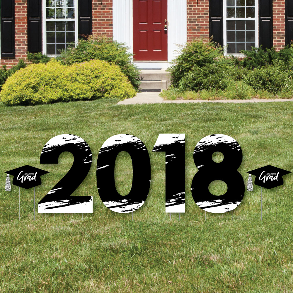 Black and White Grad - Best is Yet to Come - 2018 Yard Sign Outdoor Lawn Decorations -  Graduation Party Yard Signs