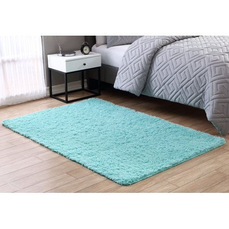 Comfort Shag Mint Green Rug - Mainstays Fuzzy Shag Area Rug, Multiple Colors and Sizes Available