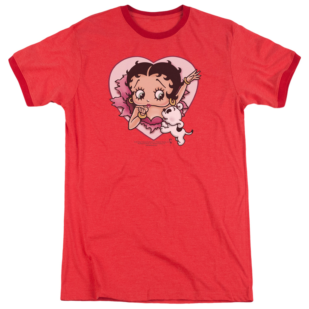 Betty Boop I Love Betty Mens Adult Heather Ringer Shirt