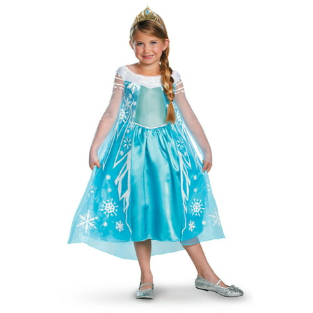 Elsa Snow Queen Girls Deluxe Frozen Costume DIS56998 - - Elsa Costume Deluxe