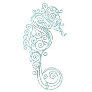 Lacey Look Distressed Design Coastal Teal Seahorse Metal 18 Inches Wall Decor