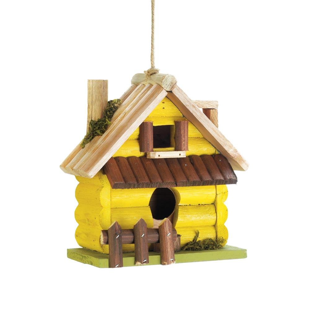 Wooden Birdhouses, Yellow Log Home Hanging Outdoor Rustic Decorative Birdhouse by Songbird Valley