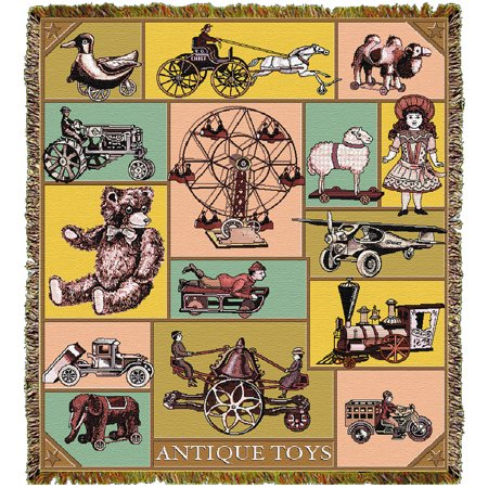 Antique Toys Tapestry Throw - Machine Washable - Warm 100% Cotton 60