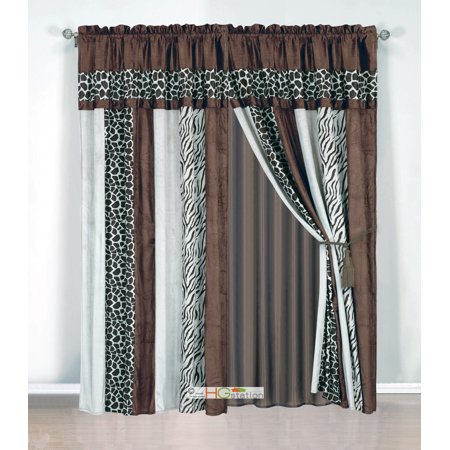 4-Pc Soft Faux Fur Safari Striped Zebra Giraffe Curtain Set Coffee Brown Valance Drape Liner