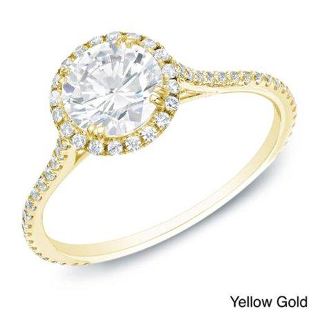 Auriya  14K Gold 1 1 2Cttdw Certified Round Diamond Halo Engagement Ring