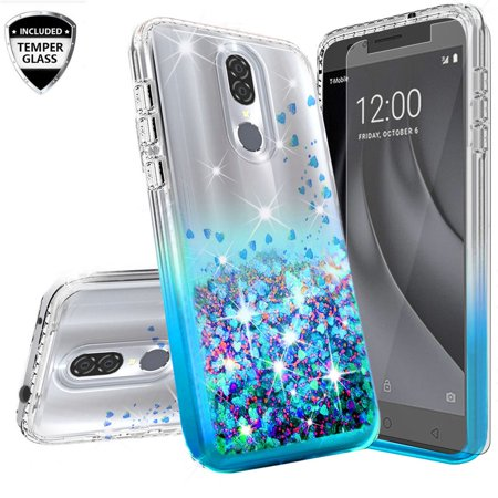 Cute Girly Sparkly Cases for Coolpad Illumina Case/Coolpad Legacy Go/3310/3310A Case w[Temper Glass] Liquid Glitter Bling Diamond Bumper Girls Women - Clear/Aqua ()