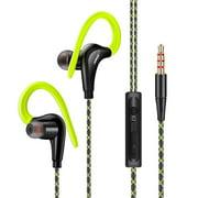 FONGE S760 Wired In-ear Waterproof Earphones Ear Hook Earbuds Stereo Super Bass Headphones Sport Headset with Mic Green