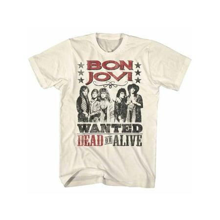Bon Jovi Rock Band Dead Or Alive Natural Adult T-Shirt Tee (Dead Alive T Shirt)