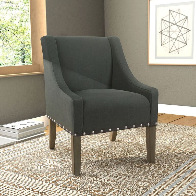 HomePop Modern Swoop Accent Chair with Nailhead Trim