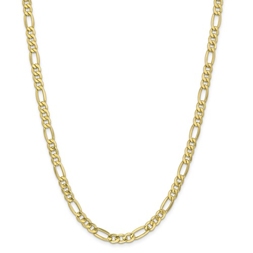 10k Yellow Gold 18in 6.6mm Semi-Solid Figaro Necklace Chain by Jewelrypot