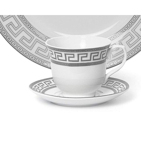 Euro Porcelain 12-Pc. 'Silver Greek Key' Tea Cup Coffee Set, Premium Bone China, 24K Gold-Plated, Complete Service for 6