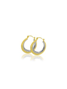 478aa52e1 Product Image 10 Karat Two Tone Gold Round Hoop Earrings
