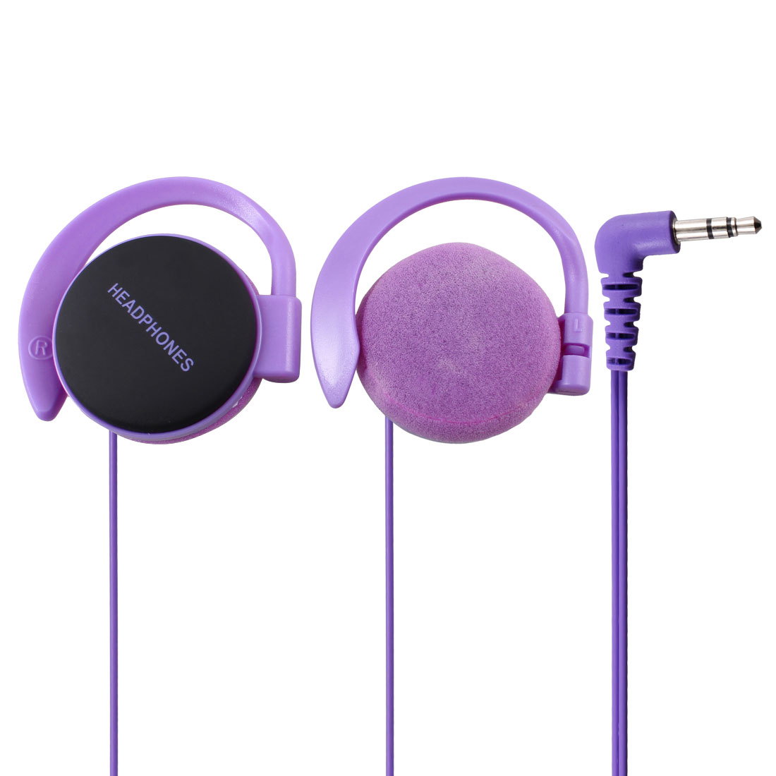 3.5mm Plug Purple Clip on Headset Earphone for Cell Phone Mobile Phone