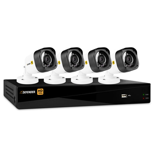 Defender HD 1080p 8-Channel 1TB DVR Security System with 4 Bullet Cameras