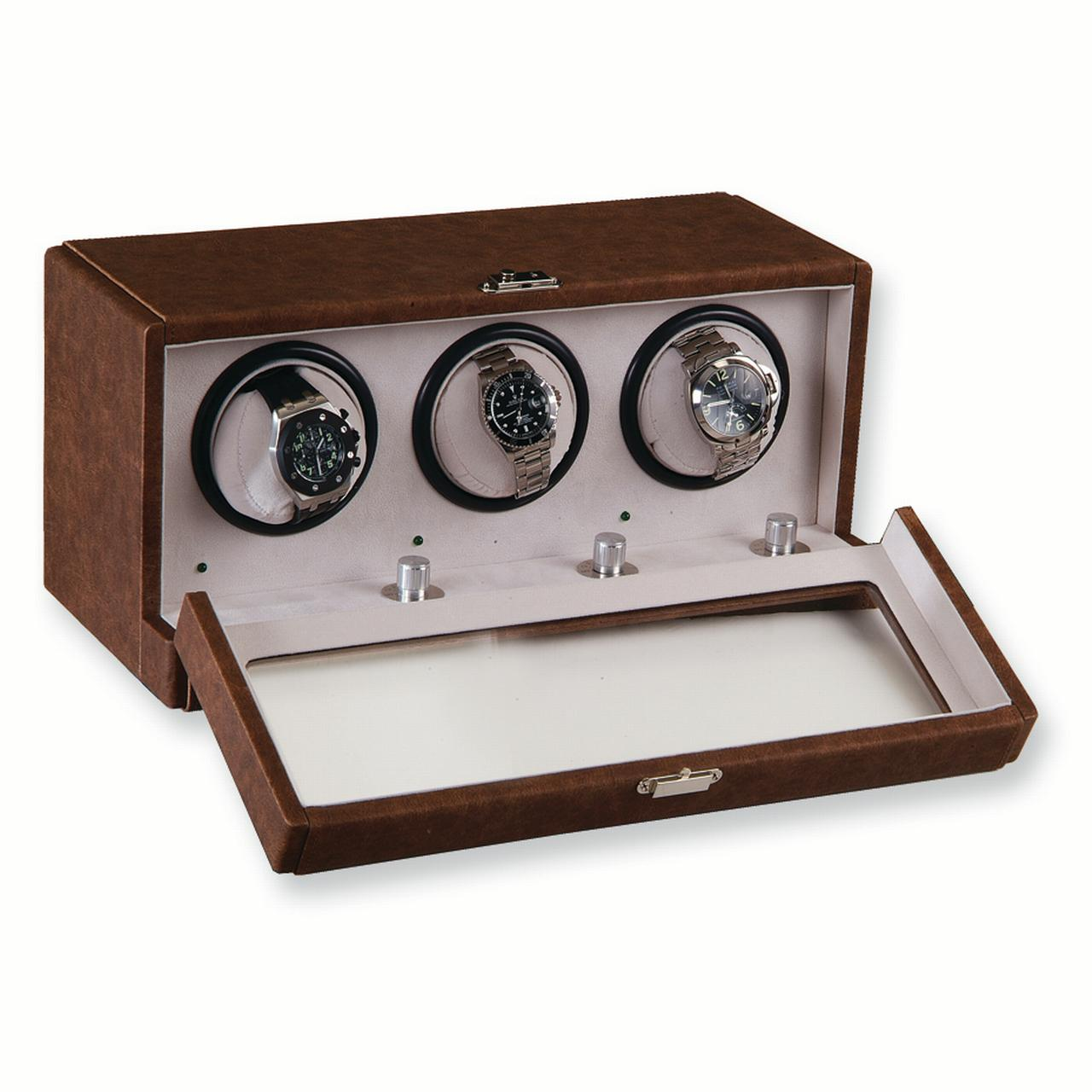 Brown Faux Leather 3-Turntable Watch Winder GM3460