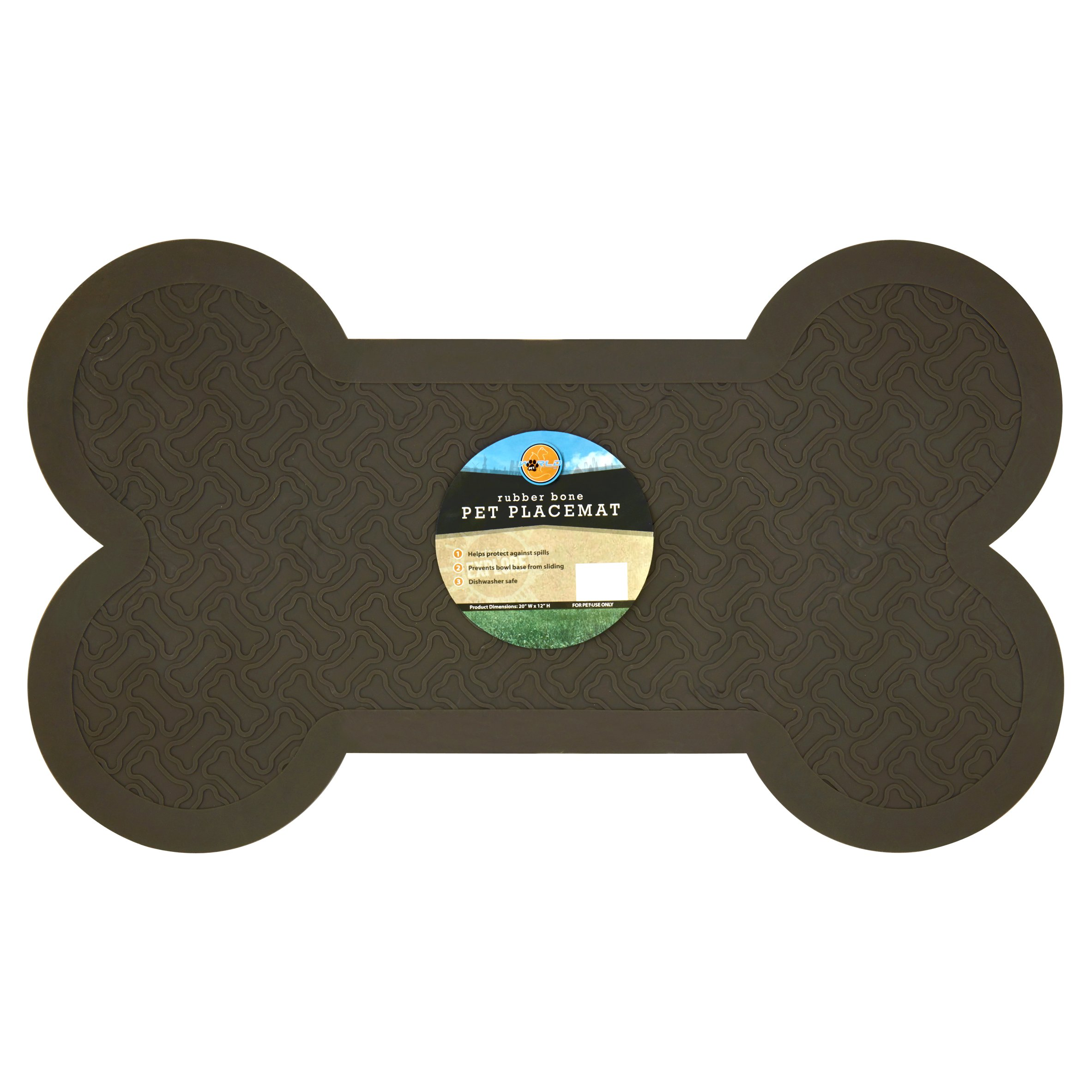 World Pet Rubber Bone Pet Placemat