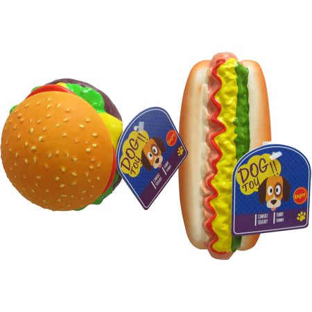 Squeaking Dog Toy, Hamburger or Hot Dog Assorted