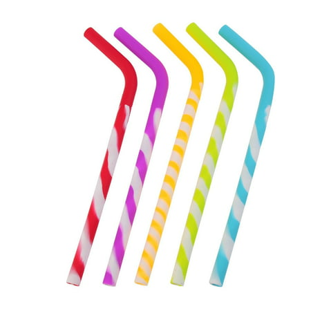Silicone Straw (California Straws, Food Grade Silicone Reusable Drinking Straws (5-pack)- Dishwasher Clean, Safe for Kids )