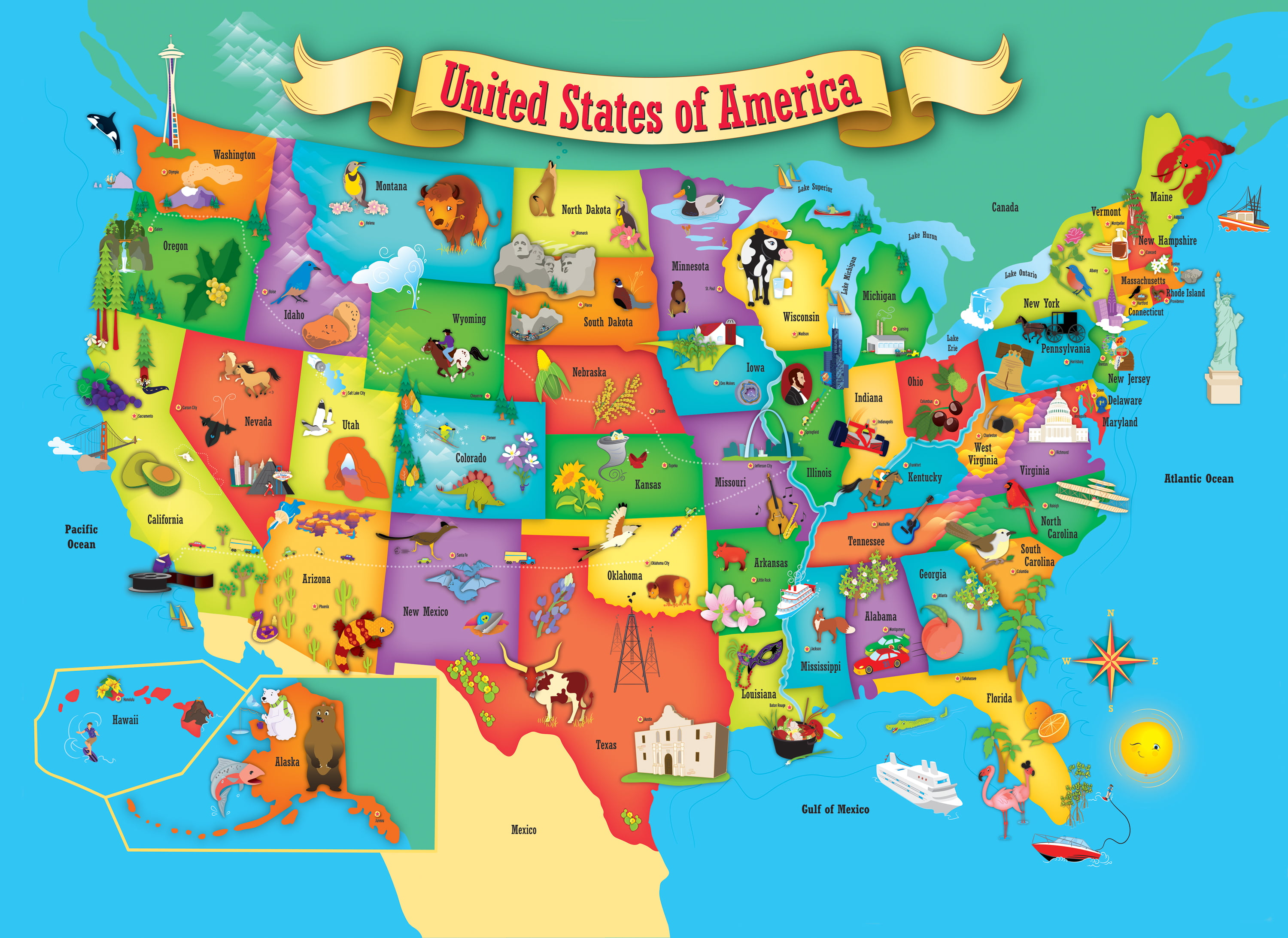 MasterPieces Explorer Kids USA Map Piece Kids Puzzle - Map of the usa