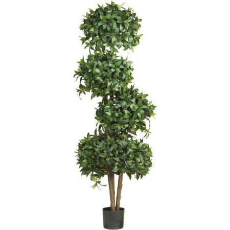 Real Looking 69  Sweet Bay Topiary W 4 Balls Silk Tree Green Colors   Silk Tree