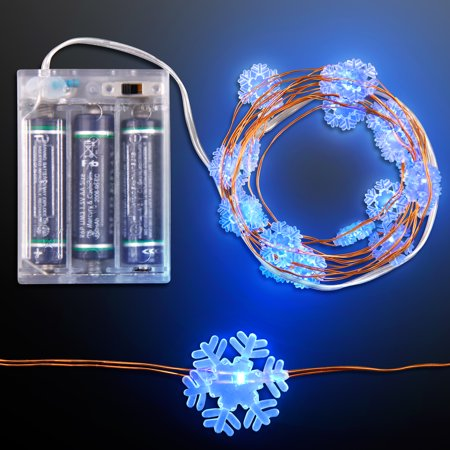 Battery Operated Led String Lights Blue : FlashingBlinkyLights Blue LED Snowflake String Lights Battery Operated - Walmart.com