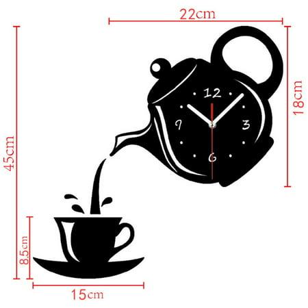 DIY Teapot Shape Acrylic Mirror Surface Wall Clock Sticker Decoration - image 1 of 8