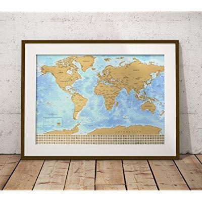 world scratchable travel map 33x24 inches gold top, glossy bottom country flags scratch off easily great gift and creative wall decoration bonus tube packaging and scratch guitar pick