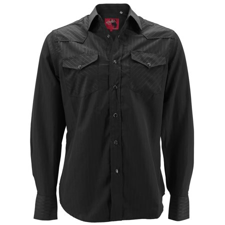 8caf295f Rodeo Clothing Men's Premium Western Cowboy Pearl Snap Long Sleeve Plaid  Shirt (PS504 Black, XL)