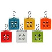 6-Pc Ceramic Square Tea Light Lantern Set with Metal Hook