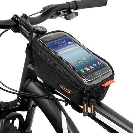 Ibera Bicycle Top Tube Phone Bag For 5    6  Screen Size  Bike Frame Strap Attachment Mount
