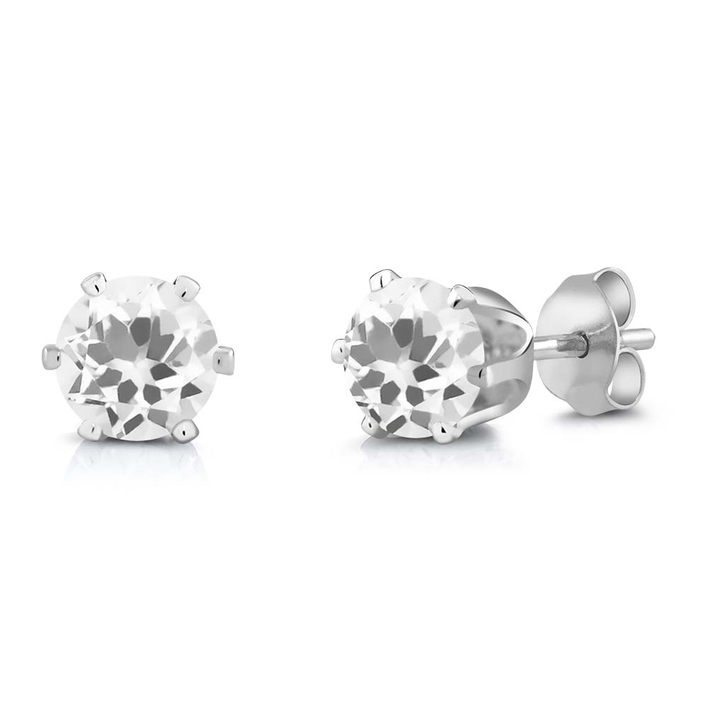 1.40 Ct Round White Quartz Silver Plated 6-prong Stud Earrings 6mm