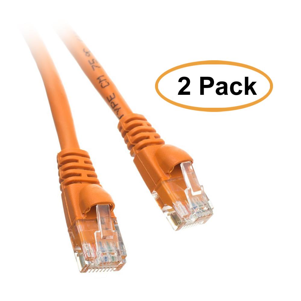 ACCL 35ft RJ45 Snagless/Molded Boot Orange Cat5e Ethernet Lan Cable, 2pk