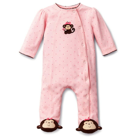 Pink and Brown Sweet Monkey Snap Front Footie Pajamas For Baby Girls Sleep N Play One Piece Romper Coverall Cotton Infant Footed Sleeper; Pijamas Para Bebes- Pink- 3 - Disfraces Halloween Para Bebes