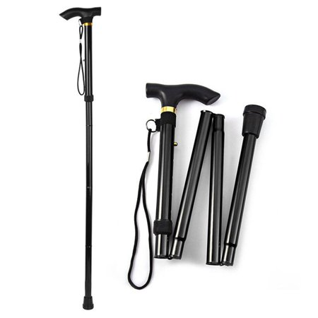 Adjustable Aluminum Metal Walking Stick Folding Collapsible Travel Cane Black - image 5 of 7