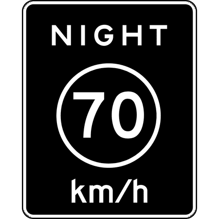 Traffic Signs - R2-3P: Night Speed Limit (Plaque) (Metric) Heavy Duty 12 x 18 Peel-n-Stick Sign Street Weather Approved Sign